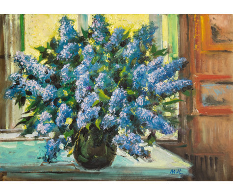 Lilacs by the window in summer