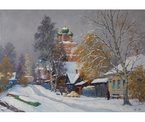 Russian Winter. Ostashkov town