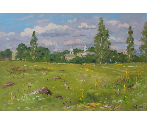 Summer meadow in Izborsk