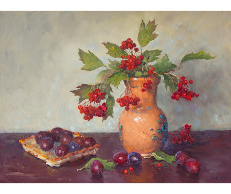 Viburnum and plums