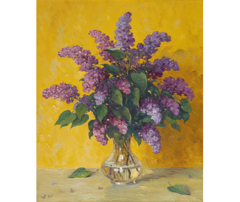 Lilac against the yellow wall