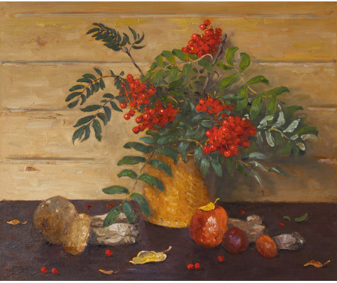 Autumn fruits, mushrooms and rowan
