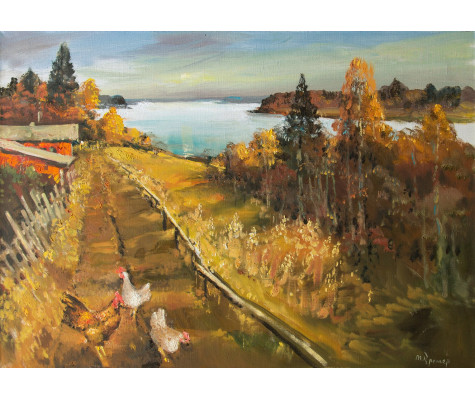 Warm autumn over the Lake, chickens