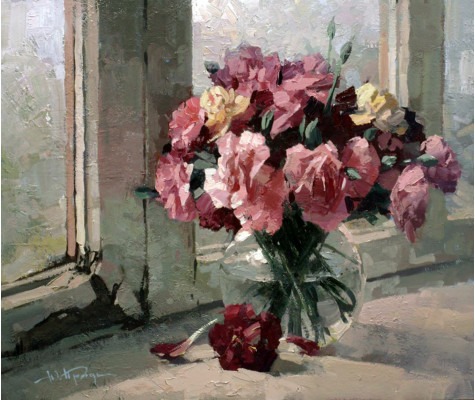 Flowers on the old window