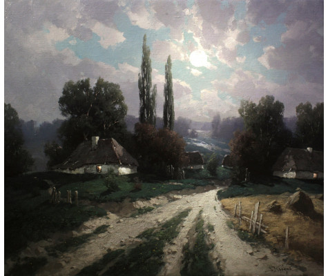 Farm at moonlit night