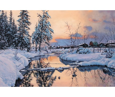 Winter river. Sunrise