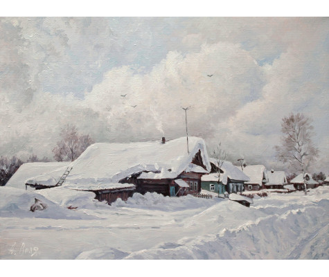 Snowy winter in village. Snowdrifts