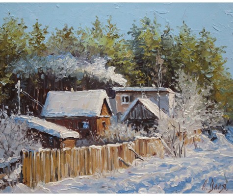 Forest houses. Winter