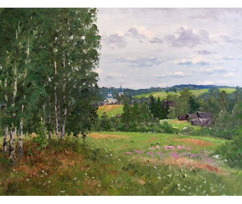 July. Birches on Hill. Summer