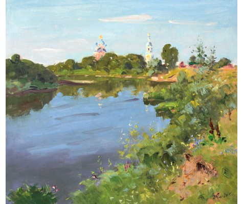 Morning on the river Moksha. Summer