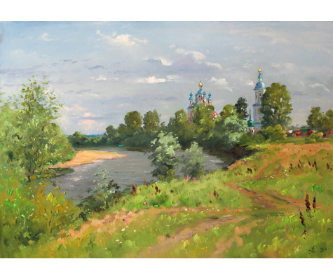Riverbank Moksha. Summer day