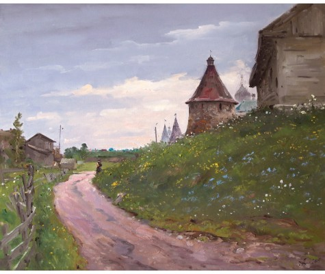 Road to temple. Solovki. Summer