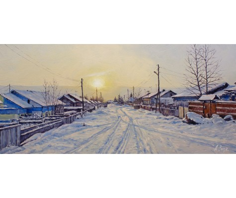 Village Road. Winter Morning