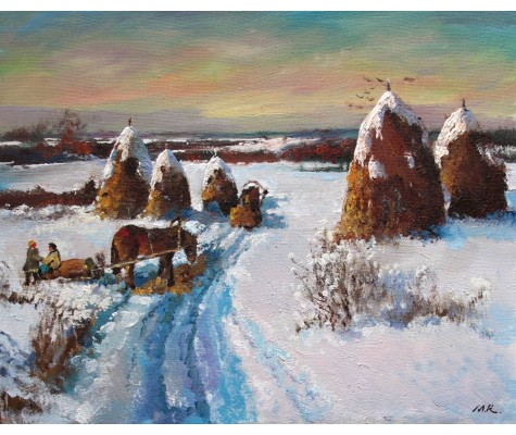 Winter, hay collecting